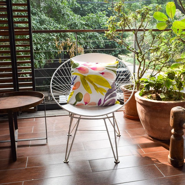 cushions in floral print for summer outdoors