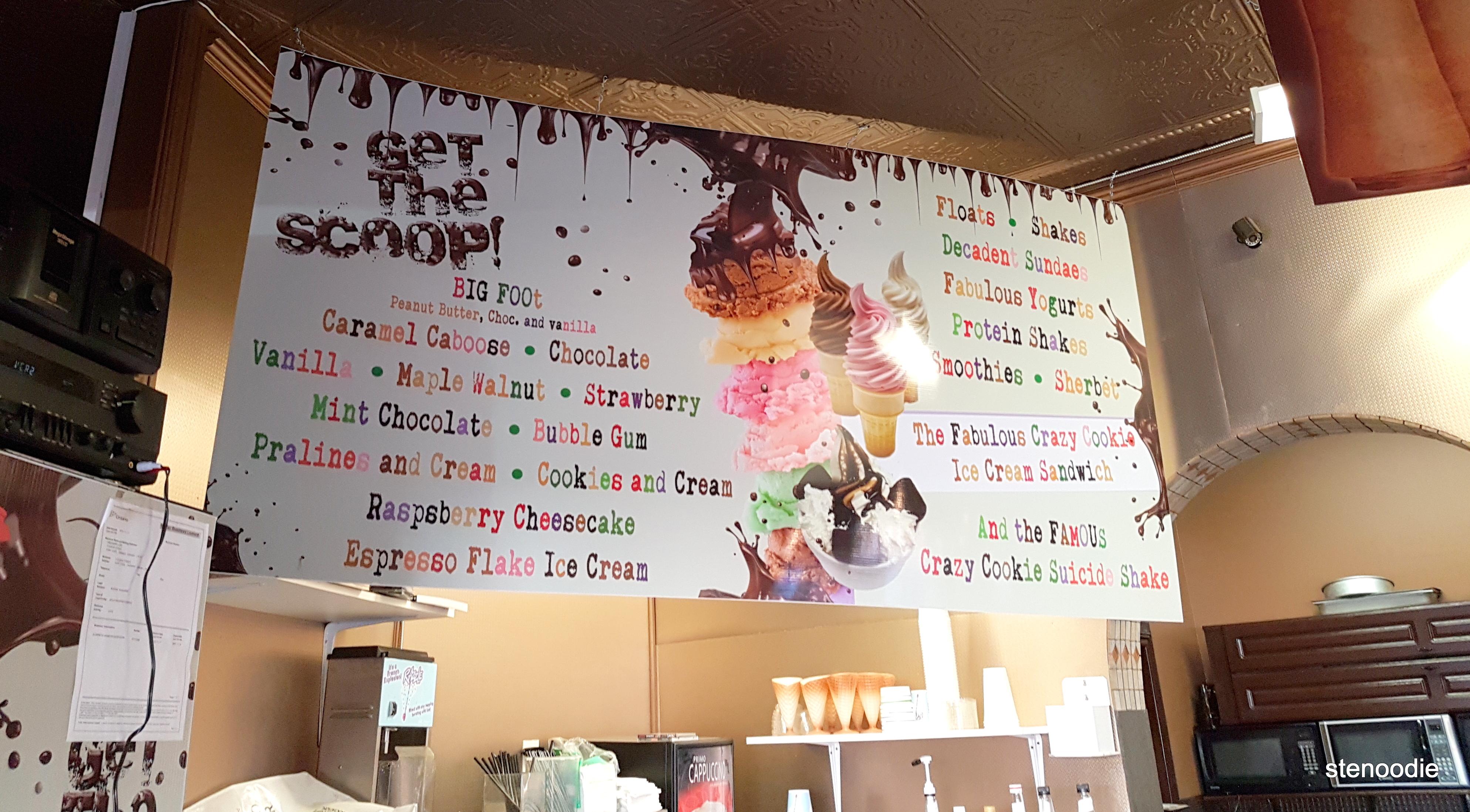 Dreamers' Cafe ice cream menu