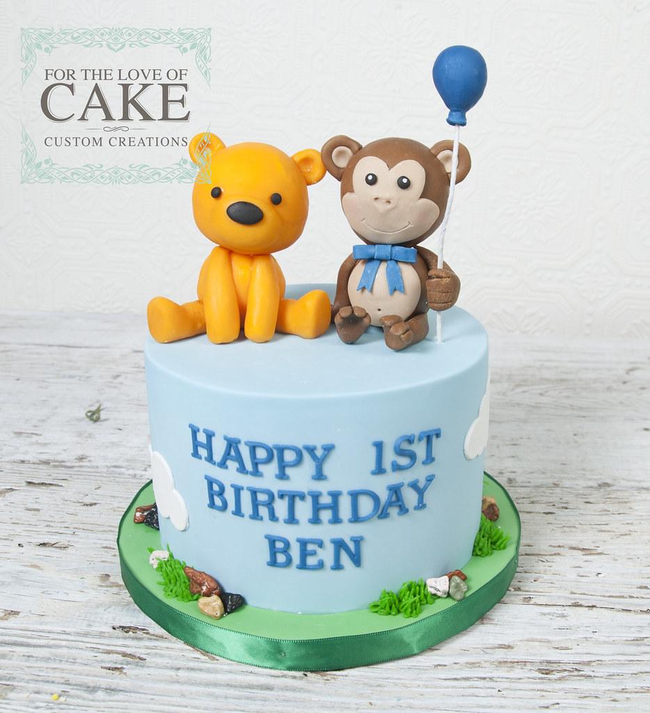 Bc4730 Teddy Bear Monkey 1st Birthday Cake Toronto A Photo On