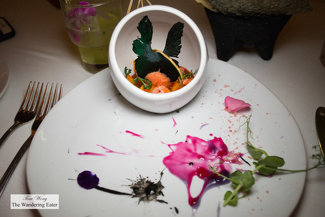 """""""Vampire"""" ceviche marinated in sangrita, mango and pineapple butterfly"""