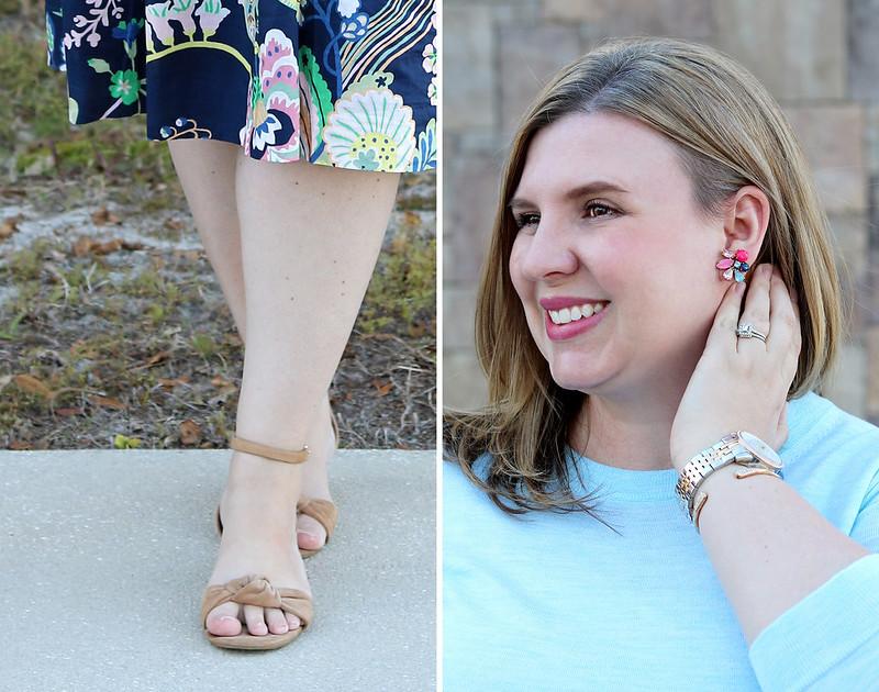 floral cotton midi skirt, aqua tippi, nude wedge sandals 1