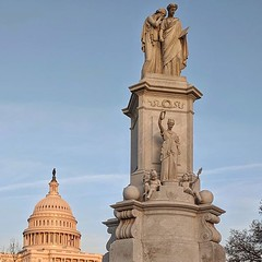 Peace Monument at the foot of Pennsylvania Avenue: grief weeps upon history's shoulder (Franklin Simmons, 1877)
