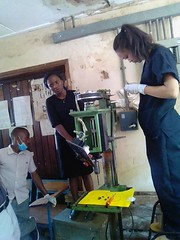 Team Nassali working on a drill press