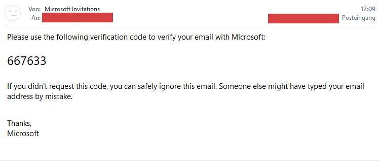 Microsoft Teams Gastzugang (7): Email mit Code