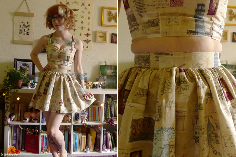 florence two piece midcentury handmade miniskirt croptop
