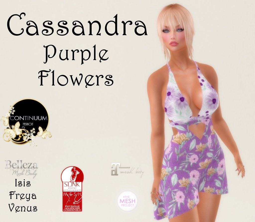 Continuum Cassandra Purple Flowers - Group Gift - TeleportHub.com Live!
