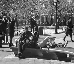 Candid Of Students Relaxing In Washington Square Park