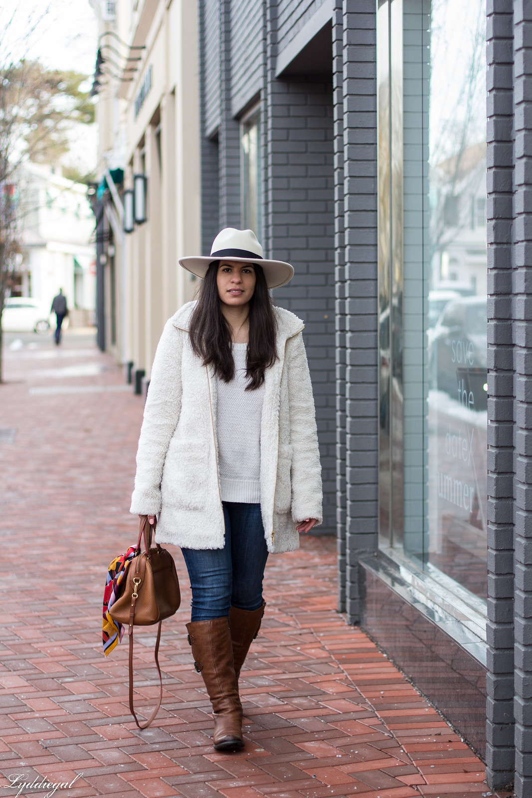 Teddy coat, white sweater, brown leather boots, wool fedora-18.jpg