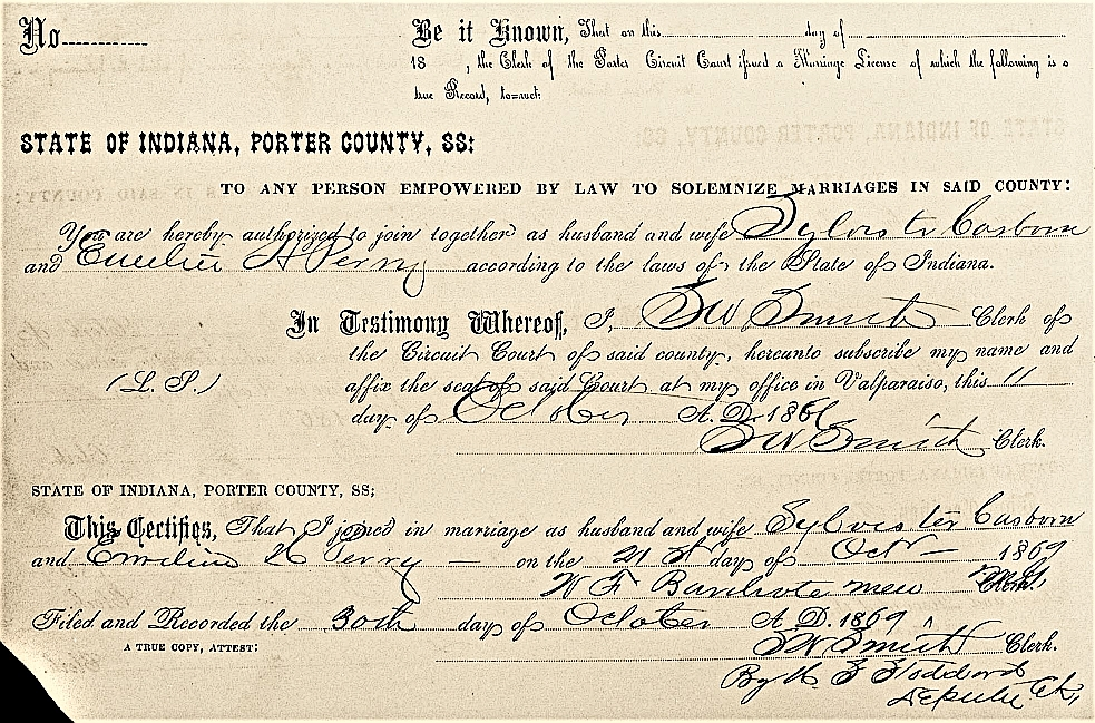 marriage record 1869