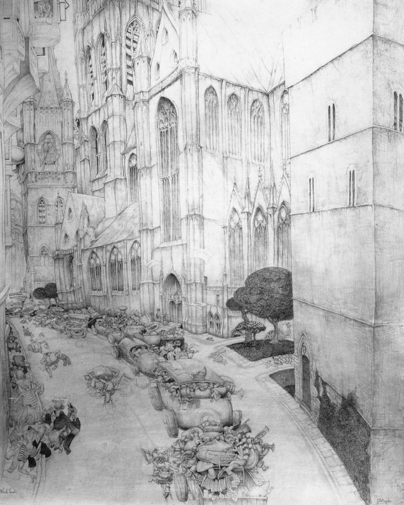 Jules De Bruycker - De menigte vertrekt  op weekend voor de St. Niklaaskerk