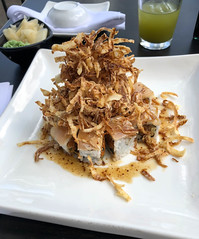 Roll with Yellowtail and Crispy Onions at Sake - Culver City, CA