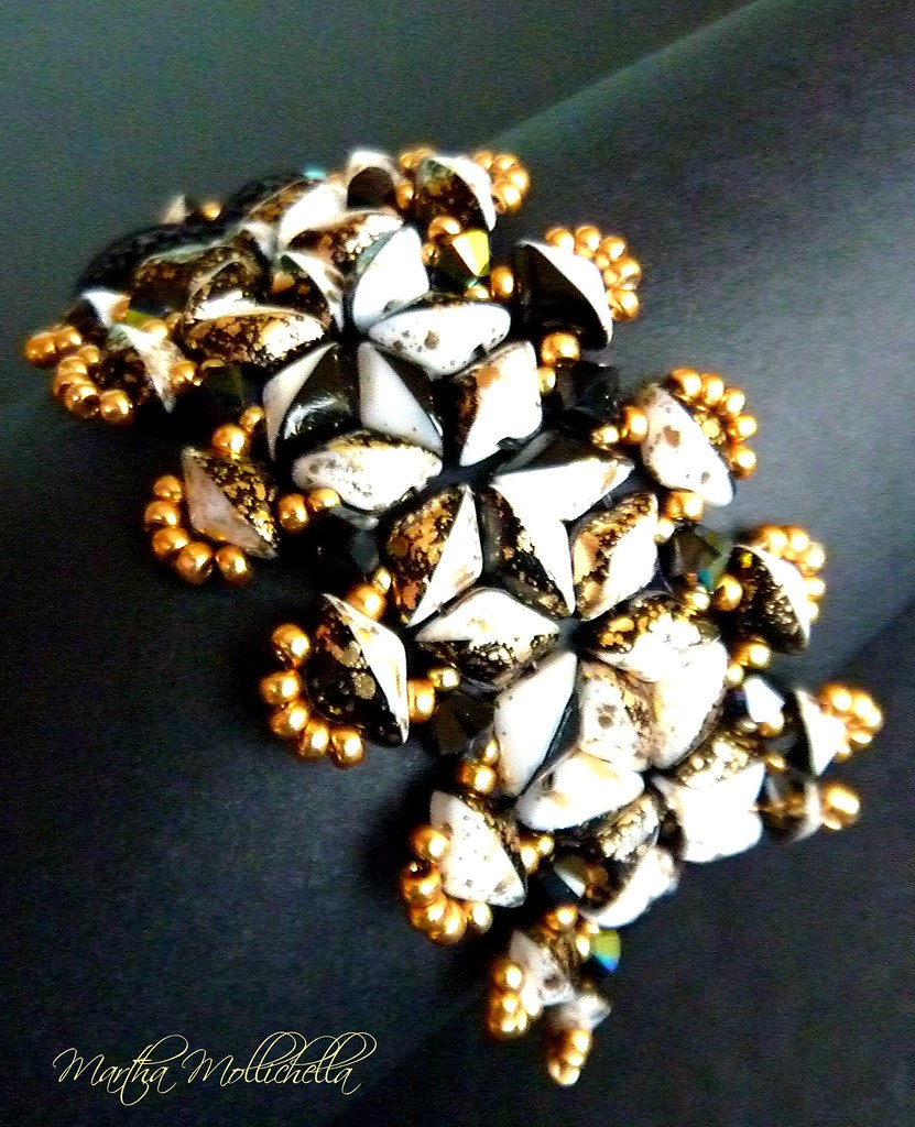 Martha Mollichella gemduo gold splash black and white beadsmith bracelet soutache