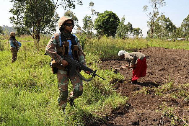 Beni, North-Kivu, DR Congo: Engagement patrol conducted from Mavivi to Muzambayi in Beni by Female combatants of South African Contingent of COB Mavivi, MONUSCO.