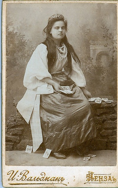 Gypsy fortune telling woman with cards cdv