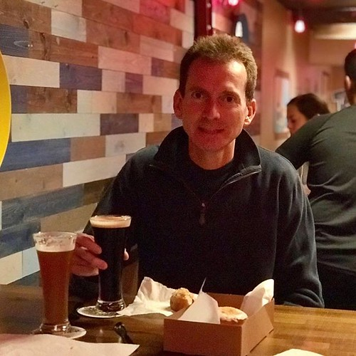 Beer and donut pairing. I don't get it, but was willing to try  two great things, taste great together? Maybe... Date night.