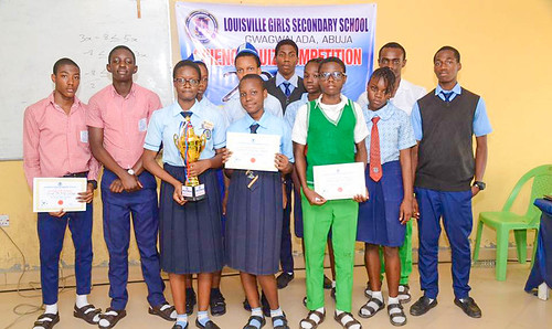 Prize winners at the Science Quiz at Louisville Secondary School, Abuja, in which six local schools took part. Louisville, Abuja, came first in the competition!