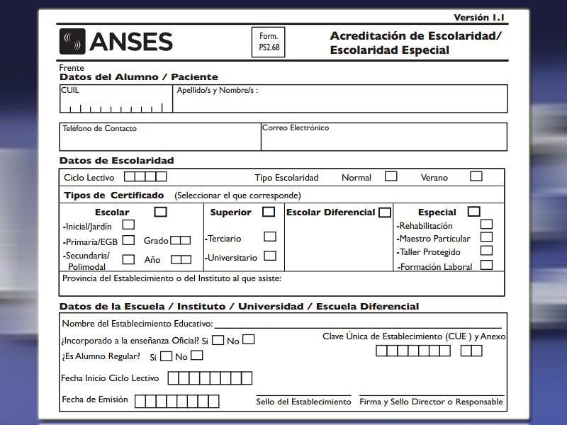 Cargar Certificado Escolar ANSES