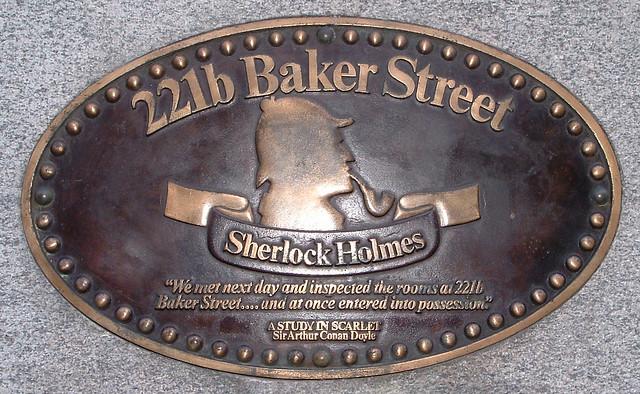 Sherlock Holmes plaque on Abbey House, Baker Street