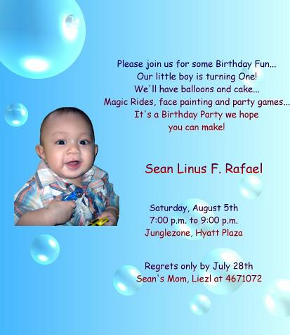 Sean's 1st birthday Invitation card | Flickr - Photo Sh