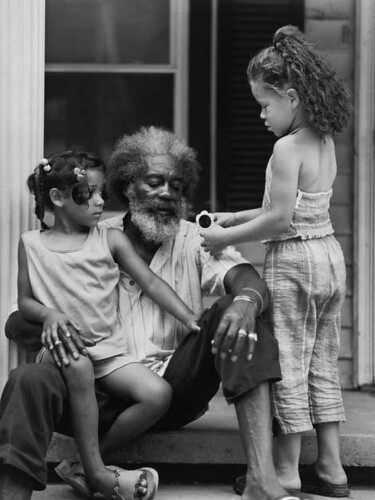Lucious Thompson and his granddaughters, Destiny Clark and Delena Brooks, 2002