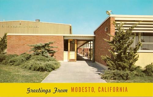 old school postcard retro modesto 1950s
