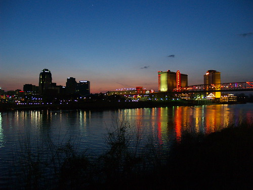 from street bridge red night river louisiana downtown neon texas view casino boardwalk shreveport