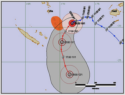 The cyclone tracking maps prepared by metrological agencies such as Meteo Vanuatu had the cyclone initially passing directly over Tanna Island, but later was deflected and caused less damage as a consequence