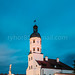 Nesvizh, Belarus. View Of Square And Town Hall In Evening Or Night Illuminations. Famous Landmark In Nyasvizh. Architecture Of 16th Century