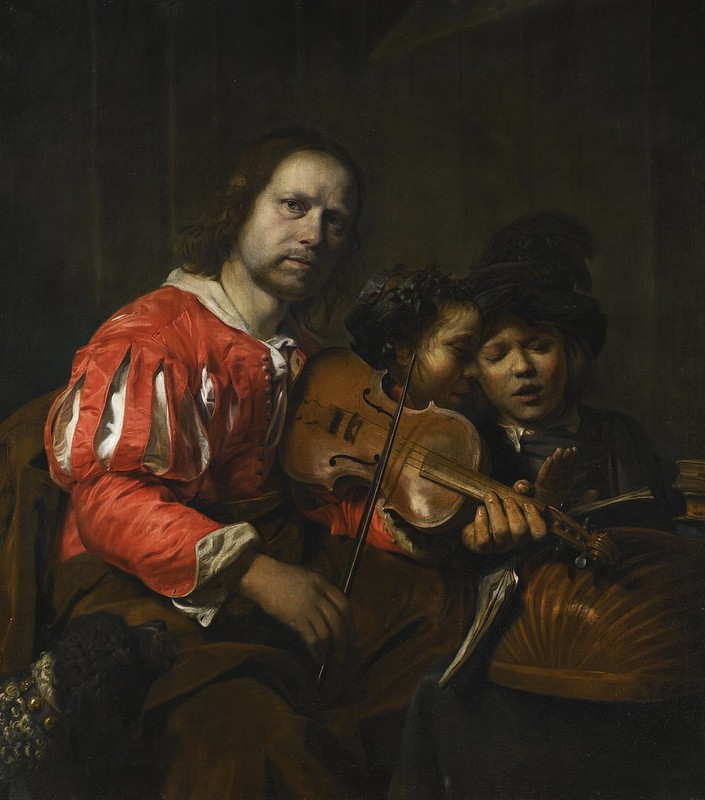 Jan de Bray - A violin player accompanying two young singers