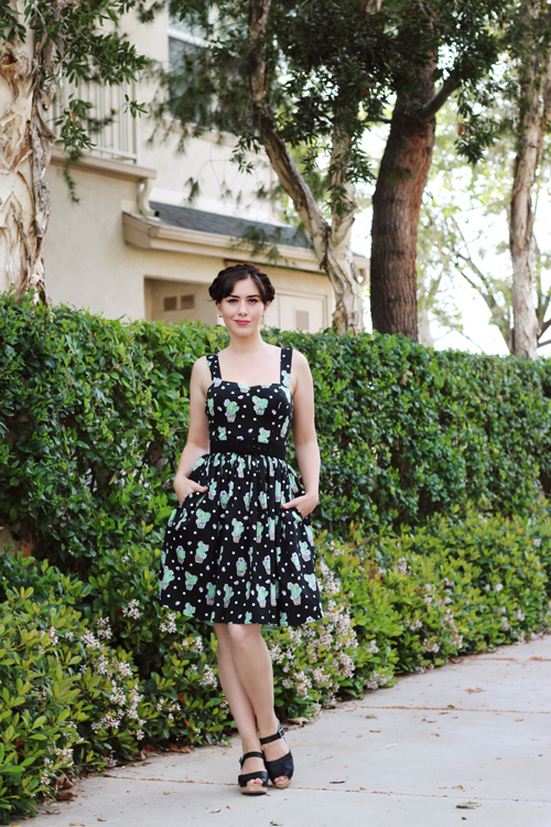 Hell Bunny 50s Cactus Swing Dress in Black Lotta from Stockholm 60s Loretta Leather Clogs in Black