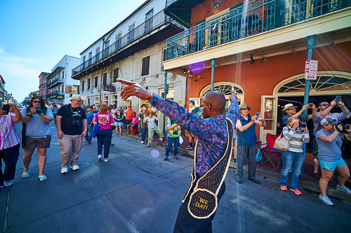 Dancing Man 504 in the opening kickoff parade Day 1 of French Quarter Fest - April 12, 2018. Photo by Eli Mergel.