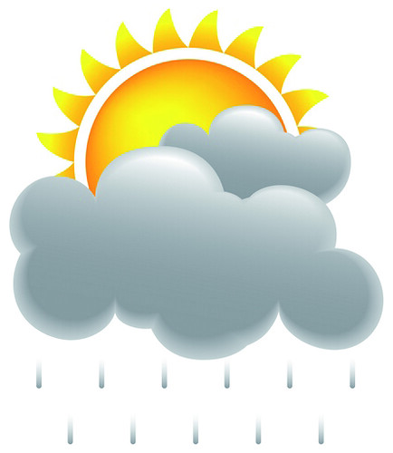 Sol, nubes y lluvia