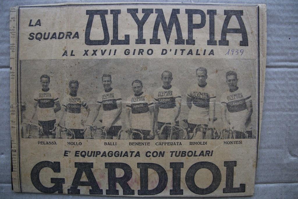La squadra Olympia al Giro d'Italia 1939
