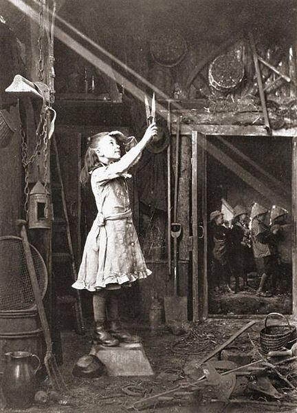 Child trying to cut a sun beam, 1886