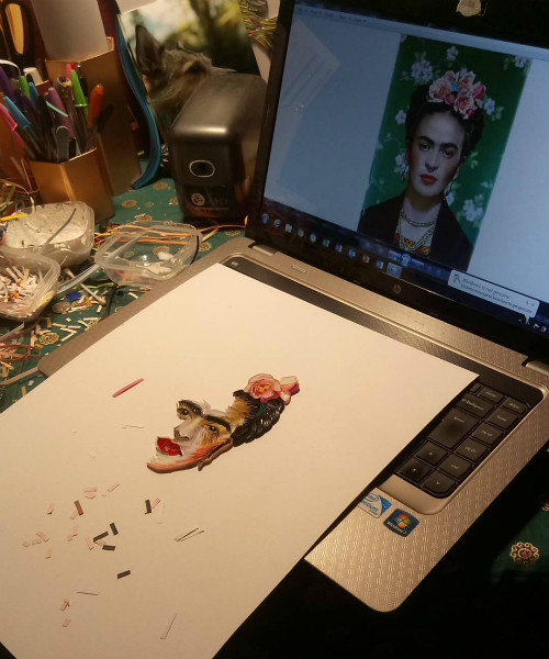 In-progress paper art illustration of Frida Kahlo
