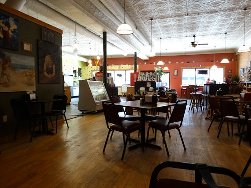 coffee shop small town charlotte michigan mi mich coffeeshop fays evelyn bay old store front repurposed