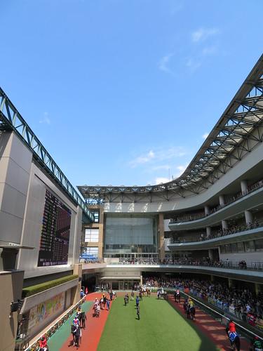 福島競馬場のパドックと青空