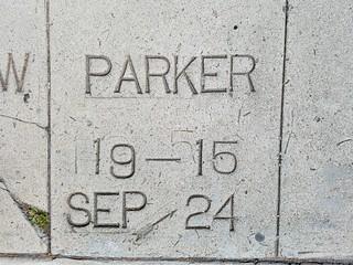 Sidewalk Concrete  Marker - Parker  SEP 24 - 1915