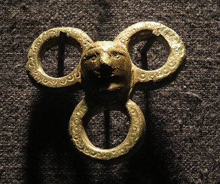 Some early brass jewelry in the Prehistoric 'oddball' Museum on the Dingle Peninsula in Ireland