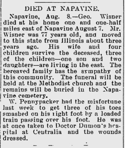 Chehalis Bee Nugget 1905 Aug 11, George Wisner Death