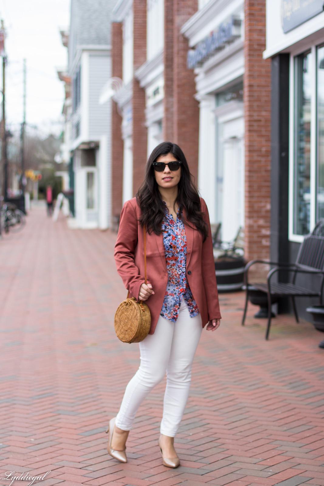 Rust Silk Blazer, Floral Blouse, White Jeans, Round Straw Bag-12.jpg