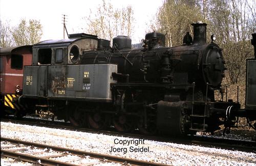 DE-94239 Gotteszell Bahnhof Regentalbahn Dampflok Deggendorf 05 (Maffei 1927/5684) im Mai 1982