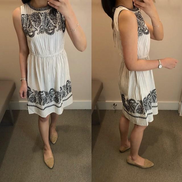 LOFT Embroidered Stripe Midi Dress, size XXSP