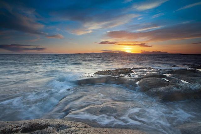 Water rush at Sunset