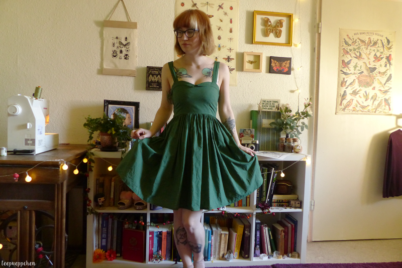 green altered summer dress dark green sweetheart