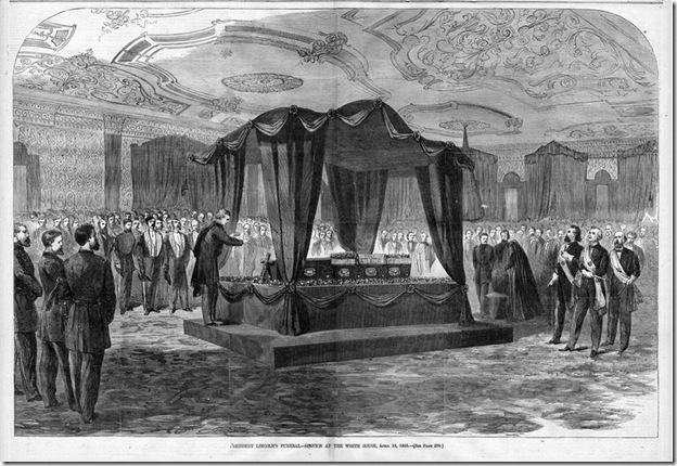 Print of Abraham Lincoln lying in state at The White House. Published in Harper's Weekly on May 6, 1865.