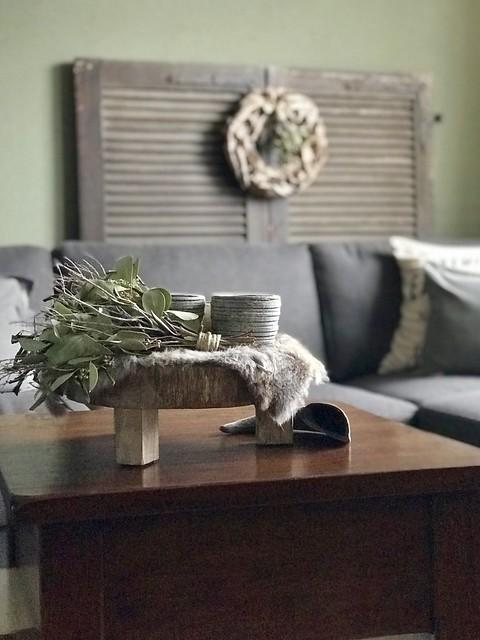 Salontafel, vachtje en groene toef