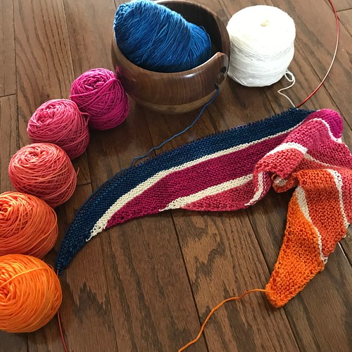 I have On the Spice Market by Melanie Berg on my needles! SweetGeorgia's Party of Five in Jelly Bean, CashLuxe Fine in Sapphire and Malabrigo Sock in Natural.