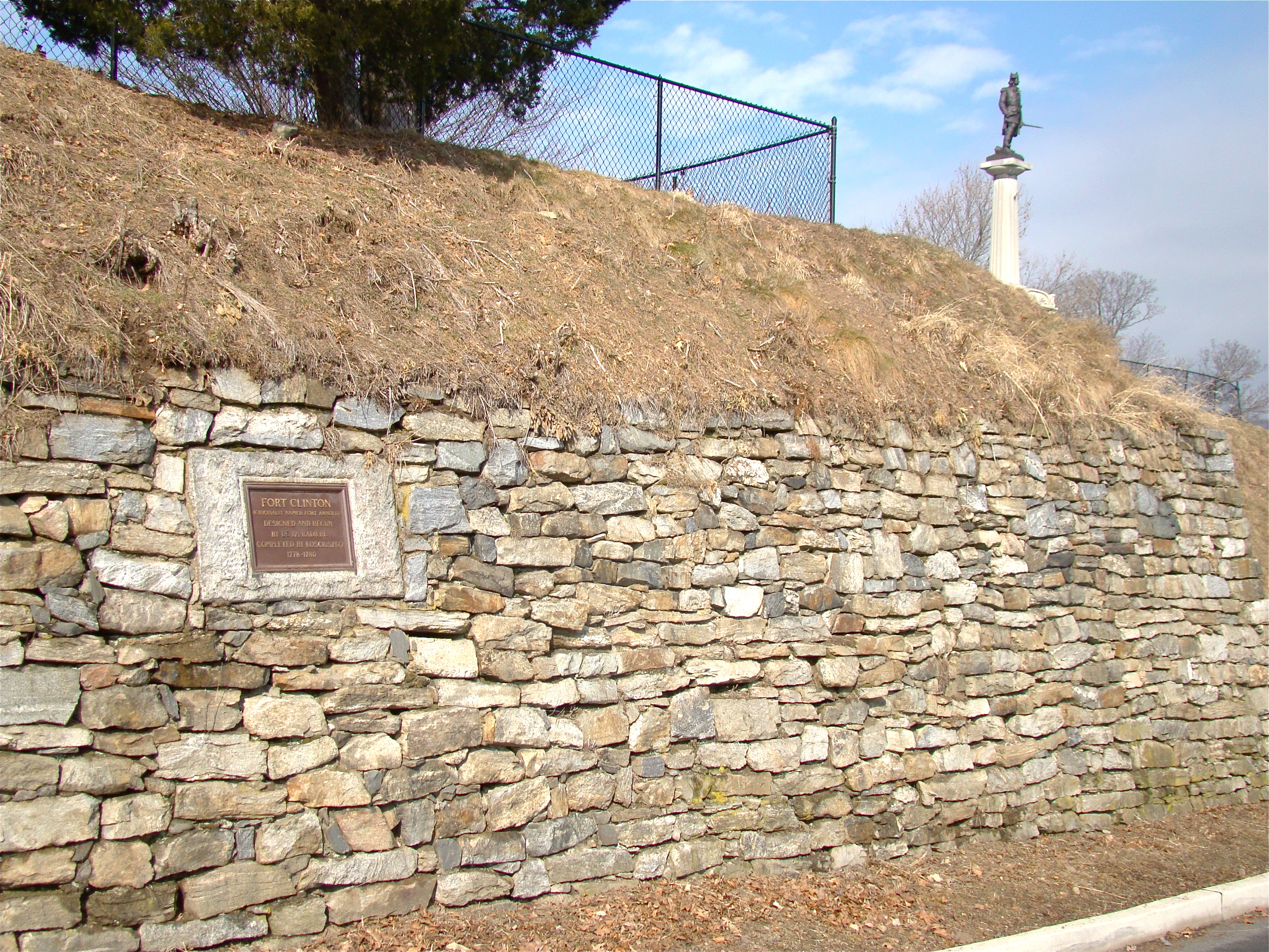 Remains of Ft. Clinton, NY - Revolutionary War defensive work at West Point, NY, fortified by Kościuszko. In background: his statue.