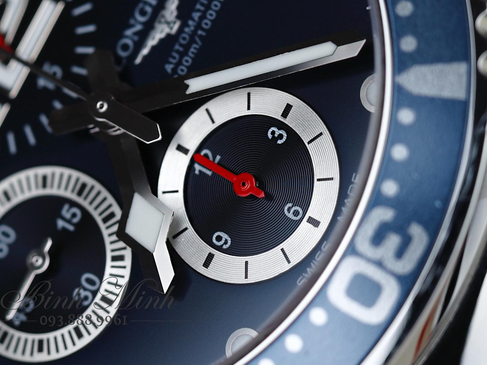 Đồng hồ Longines HydroConquest Chronograph mặt xanh blue máy Automatic, mới 100%, đủ hộp sổ